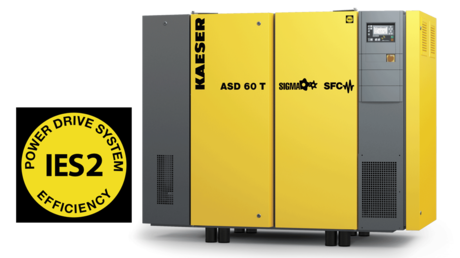 ASD series rotary screw compressor with synchronous reluctance motor is classified in the IES2 standard.