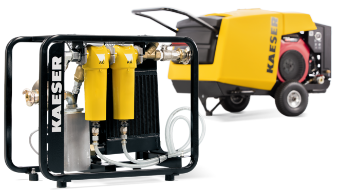 Compressed air aftercooler with supporting frame for road-going portable compressors from Kaeser Kompressoren.